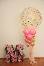 Rose Gold Confetti Big Balloon, Flower Named Sculpture