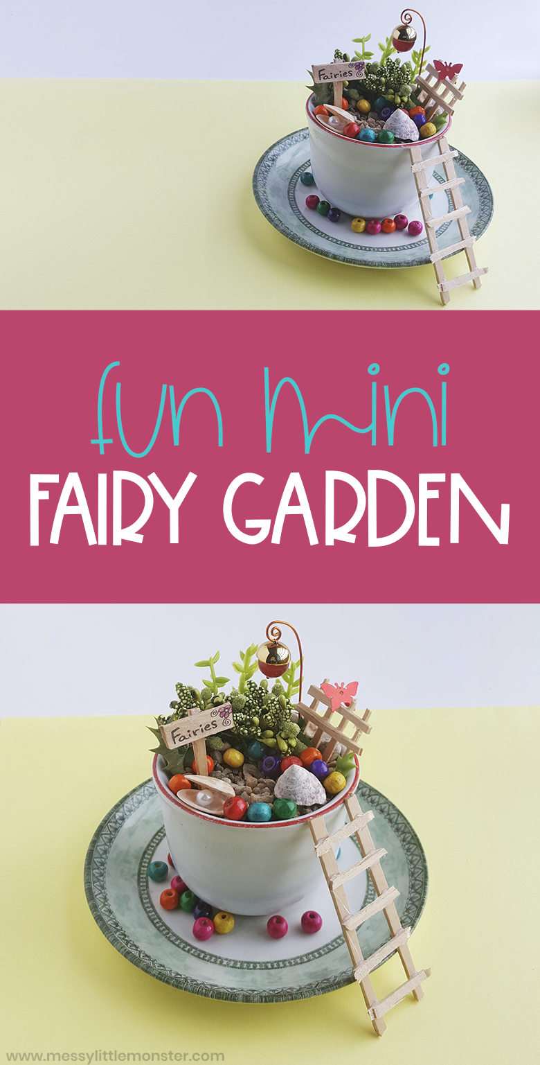 How to make a fairy garden. This teacup fairy garden is easy to make. Preschoolers will love using this mini fairy garden for pretend play.