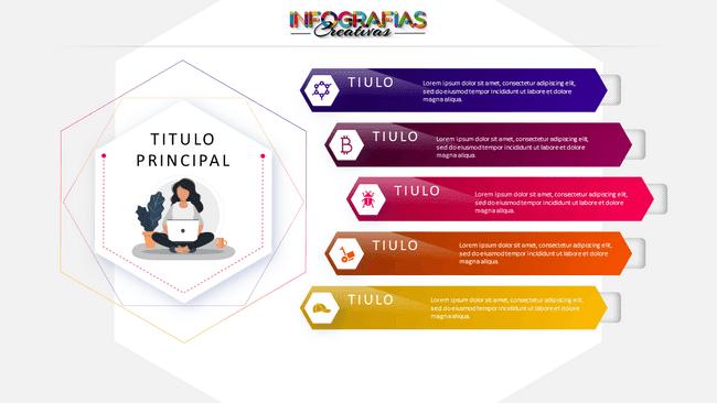 Plantilla infografía animada con figura hexagonal