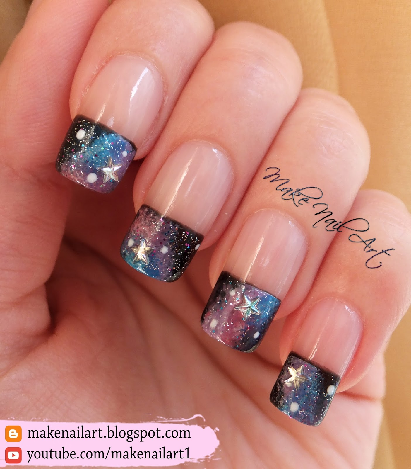 Make Nail Art: Galaxy French Manicure Nail Art Design Tutorial