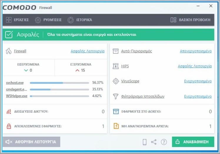 Comodo Firewall :   Η κορυφαία εφαρμογή Firewall για τα Windows