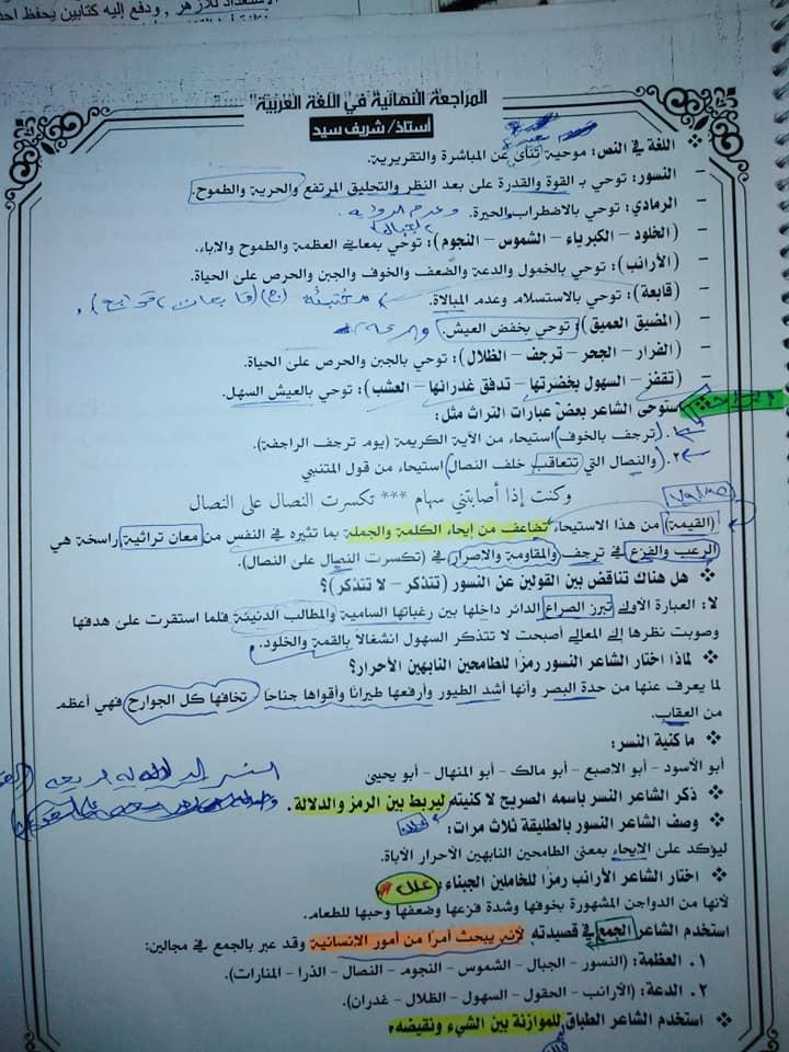 تجميع لمراجعات و امتحانات اللغة العربية للصف الثالث الثانوى  للتدريب و الطباعة 2021 15