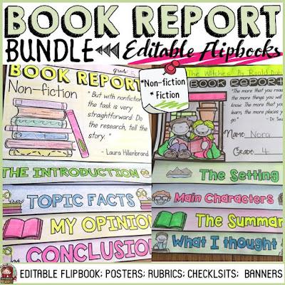 Writing a book report: flipbook organizer