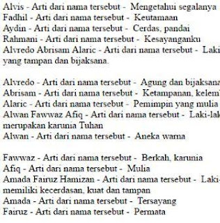 Daftar Nama Anak Laki Laki
