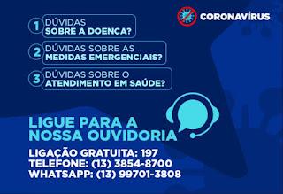 Prefeitura de Cajati lança ouvidoria para esclarecer dúvidas sobre o novo Coronavírus