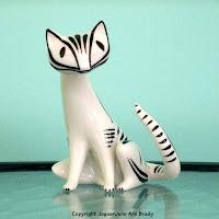Hollohaza Hungary Vintage Deco Cat Porcelain Figurine