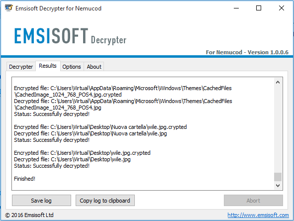 Nemucod - Emsisoft Decrypter, risultati