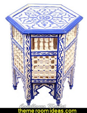 Bleu Majorelle on White Side Table  Moroccan decorating ideas - Moroccan decor - Moroccan furniture - decorating Moroccan style - Moroccan themed bedroom decorating ideas - Exotic theme decorating - Sultans Palace - harem style bedrooms Arabian nights Moroccan bedroom furniture - moroccan wall decoration ideas
