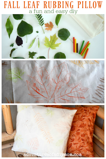 fall leaf rubbing pillow collage