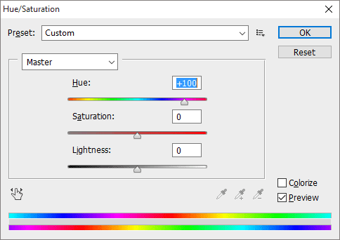 Hue/ Saturation Window in Photoshop CS6
