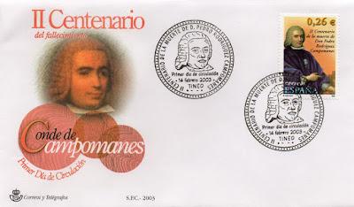 Sobre PDC del sello de Campomanes. Matasellos de Tineo