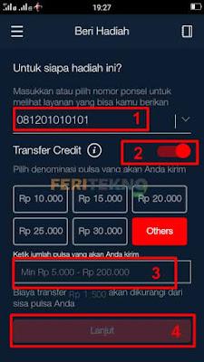 cara transfer atau mengirim pulsa simpati dan telkomsel 7