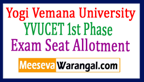 Yogi Vemana University YVUCET 1st Phase Seat Allotment