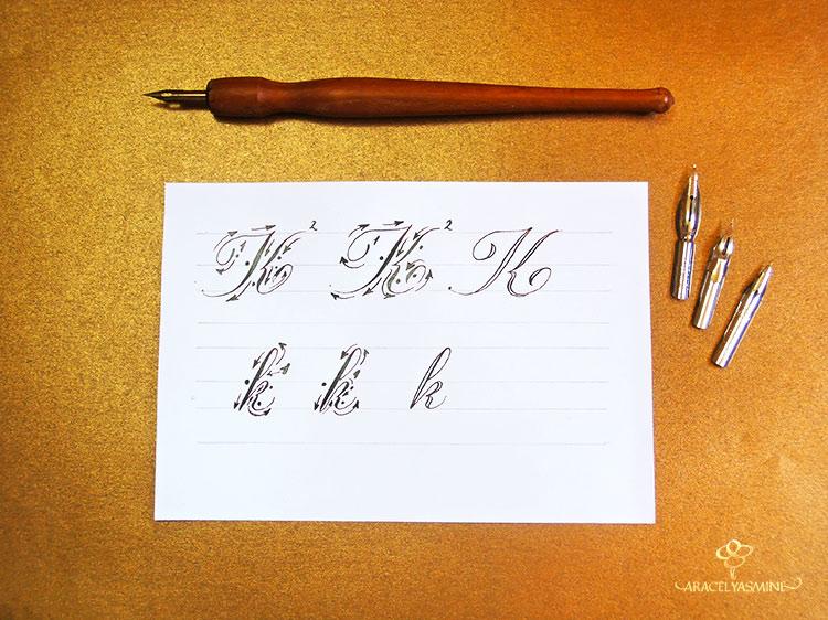caligrafia copperplate letra K aprender escribir abecedario