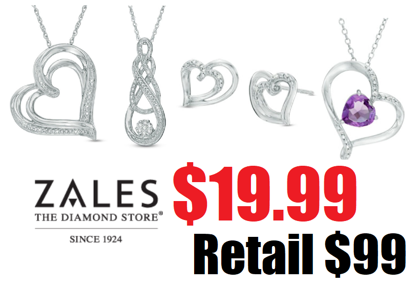 Zales Diamon Accent Sterling Silver Necklace Pendants Or