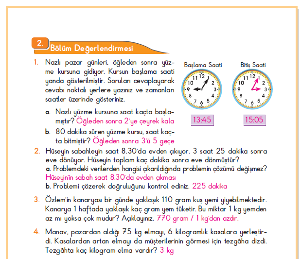 3. Sınıf Berkay Yayınları Matematik Ders Kitabı 202.Sayfa Cevapları 2. Bölüm Değerlendirmesi
