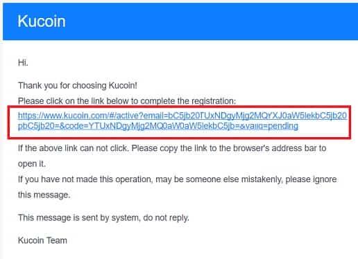 link activar mail registro exchange kucoin