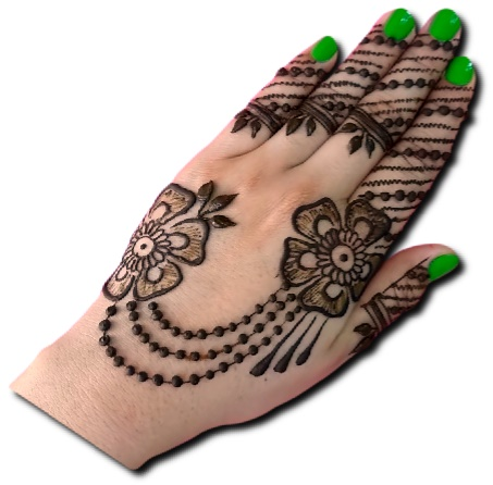 Back Hand Mehndi Design of Jewellery