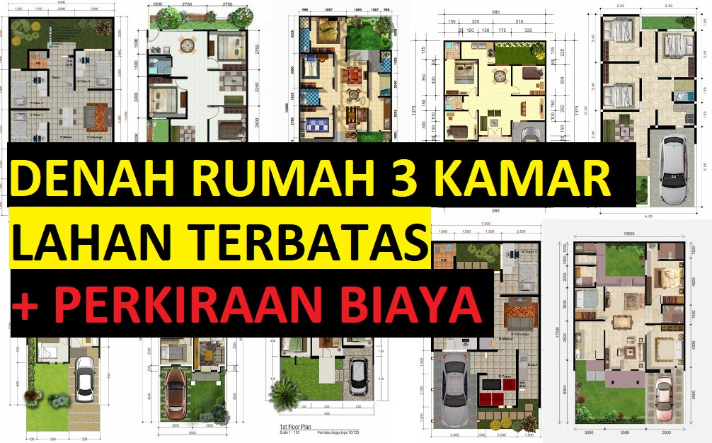 Gambar Desain Rumah Minimalis 7 X 15  denah rumah 3 kamar 1 lantai beserta anggaran biaya desain