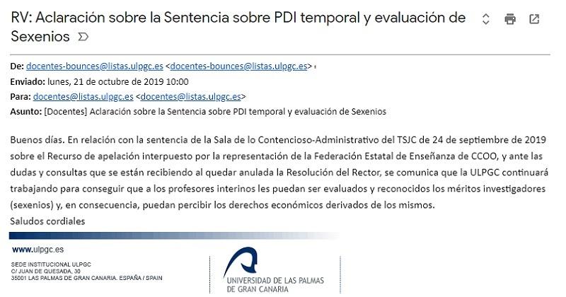 La verdadera aclaración sobre la Sentencia de evaluación de Sexenios por investigación en la ULPGC