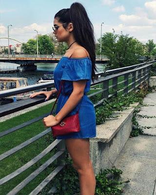 vestido azul corto de verano casual