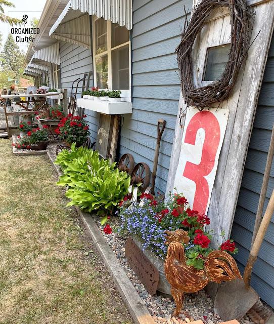 Foto da lateral da minha casa decorada com lixo e gerânios vermelhos