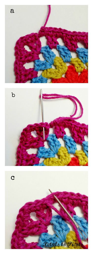 How to Crochet the Invisible Join - Steps 1 through 3 | www.petalstopicots.com