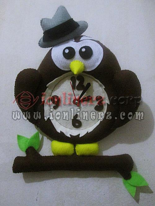 Jam Dinding Flanel Karakter Kartun Boneka Owl / Burung Hantu