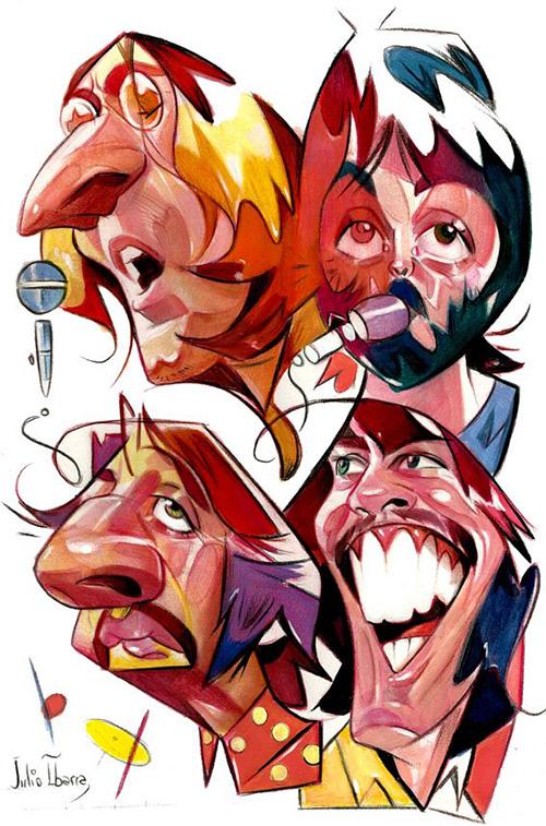 Caricaturas de los Beatles John, Ringo, Paul y George por Julio Ibarra