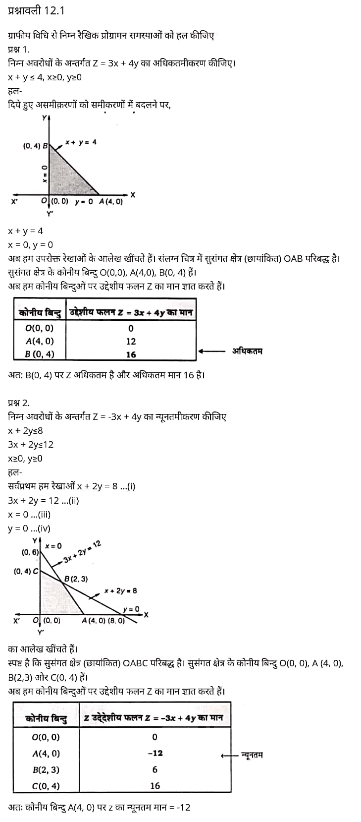 "UP Board Solutions for ""Class 12 Maths Chapter 12"" ""Linear Programming"""
