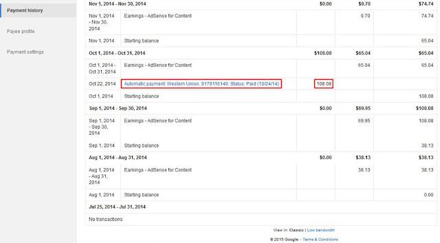 Bukti Pembayaran Google Adsense Melalui WU Terbaru