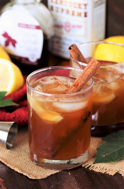Bourbon Maple Leaf Cocktail With a Cinnamon Stick Image