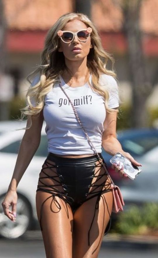 Ana Braga in Black Transparent Shorts and Sexy Tight Top Huge Boobs ass Visible at Starbucks in Calabasas