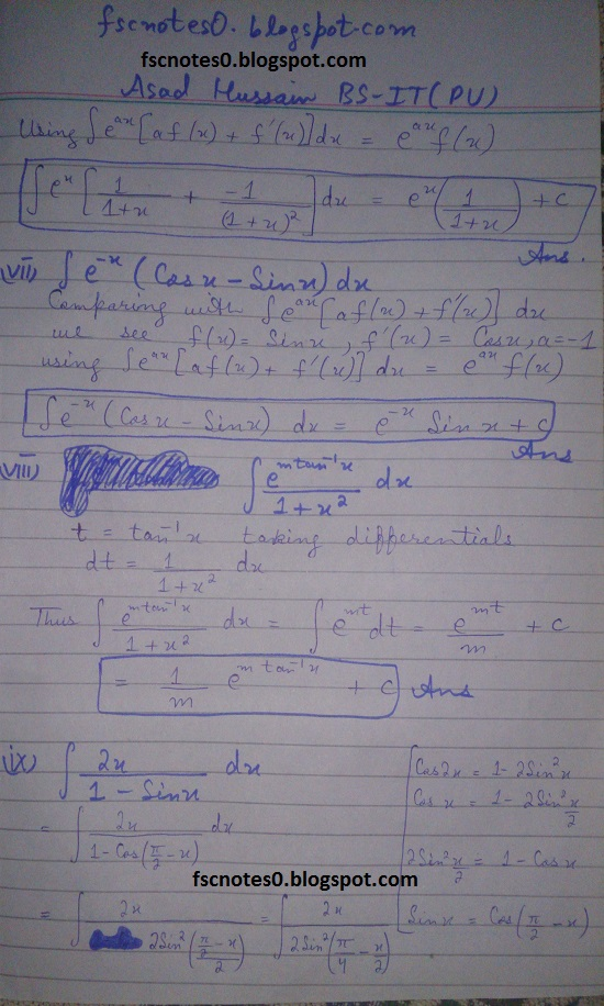 FSc ICS Notes Math Part 2 Chapter 3 Integration Exercise 3.4 Question 5 by Asad Hussain 2