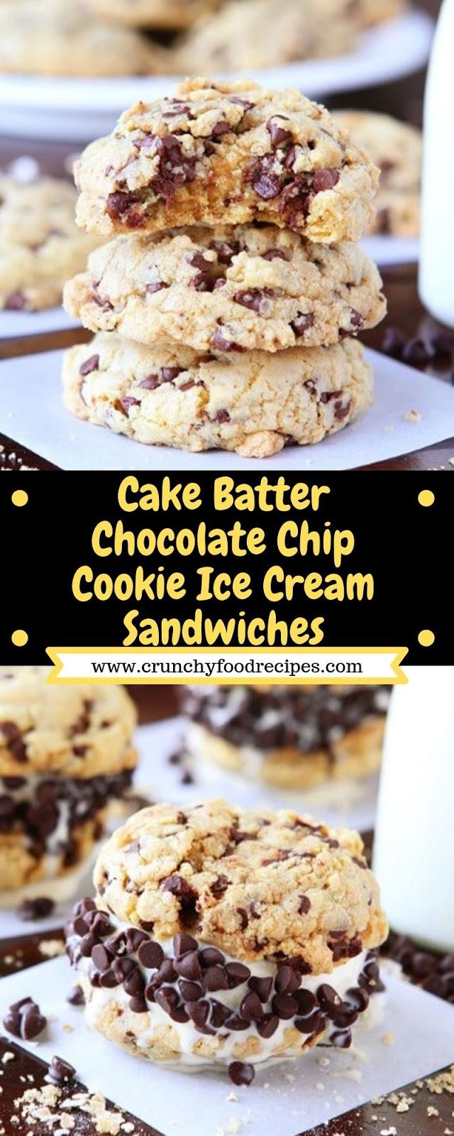 Cake Batter Chocolate Chip Cookie Ice Cream Sandwiches
