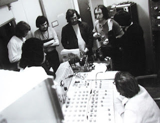 Quincy Conserve having a band conference after a take. HMV studio, Wakefield Street, Wellington, 1971.