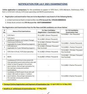 FCPS examination July 2021 notice pdf