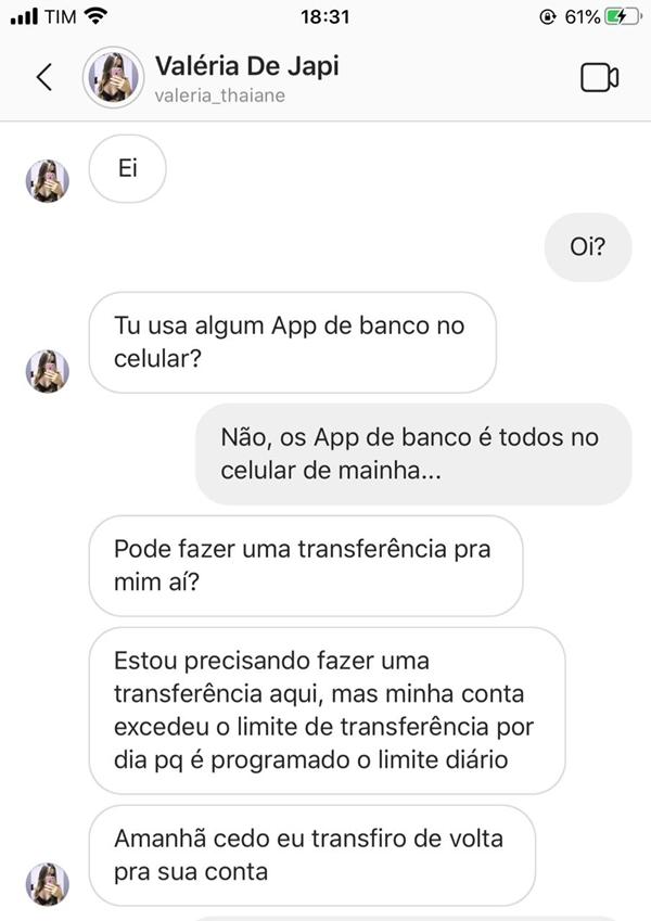 Vereadora Valéria da Barra alerta que estelionatário está usando sua conta no Instagram para pedir dinheiro