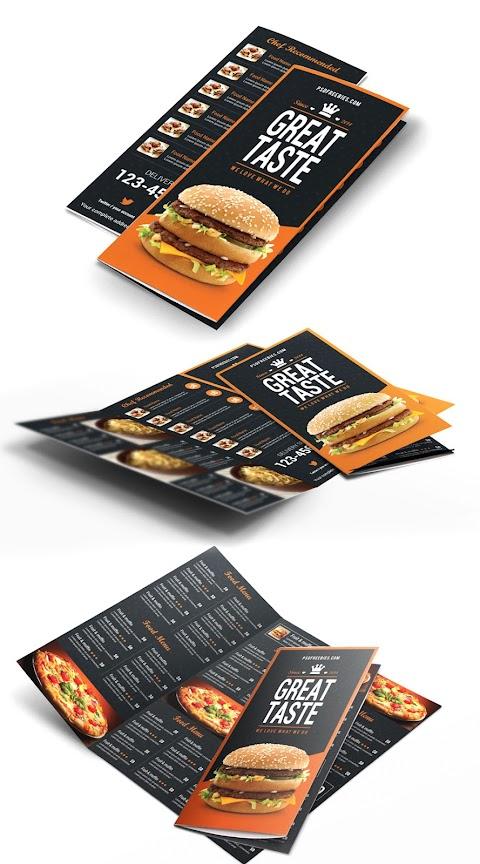 Plantilla para crear un menú de comida rápida tipo brochure