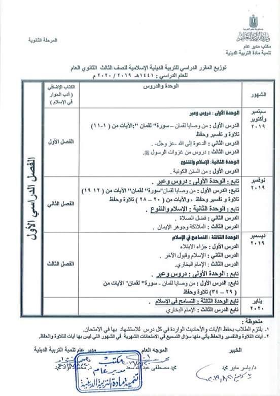 توزيع مناهج التربية الدينية الاسلامية لكل الصفوف و المراحل (ابتدائي - اعدادي - ثانوي) للعام الدراسي 2019 / 2020 11