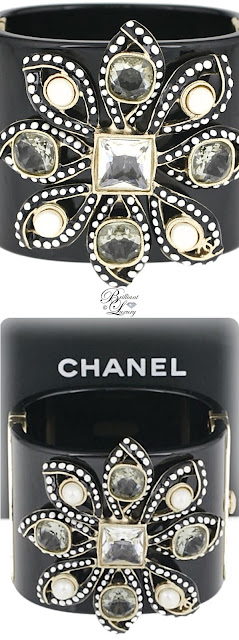 Brilliant Luxury ♦ Chanel Black Resin & Crystal Lily Fantasy Flower Cuff Bracelet