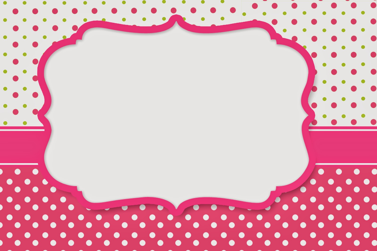 Pink, Green and White Polka Dots Free Printable Invitations, Labels or Cards.