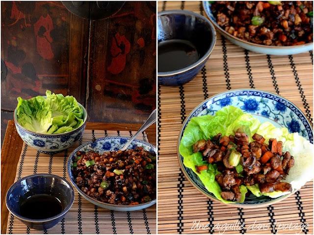Sauté de porc dans sa feuille de laitue (San Choy Bow)