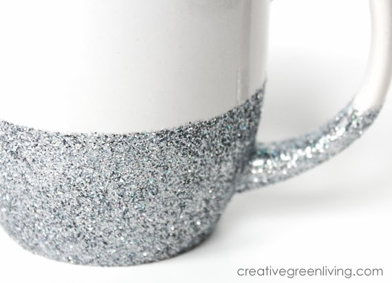 Beautiful silver glitter mug for gift giving #DIYGiftIdeas #creativegreenliving