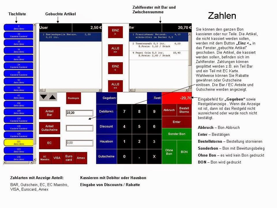 Zahlfenster Kassensoftware