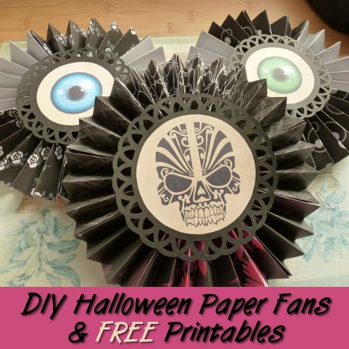 Skull and eyeball round fan decorations in black for Halloween