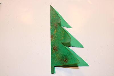 Postal em forma de Árvore de Natal, decorado com glitter