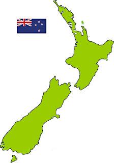 Nova Zelândia—mapa e bandeira