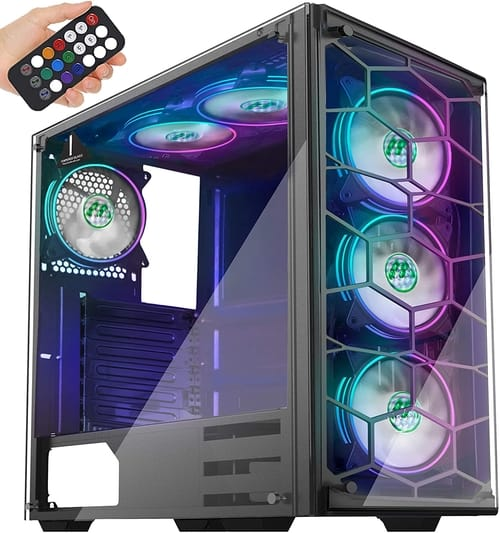 MUSETEX ATX Mid-Tower Chassis 6 ARGB Fans PC Case