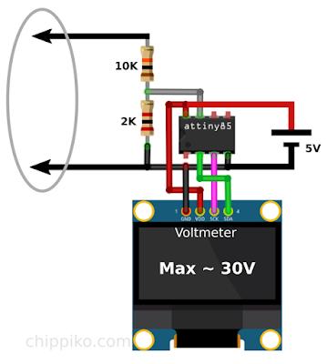 voltmeter arduino, voltmeter attiny85, voltmeter using arduino, adc to voltmeter, diy voltmeter
